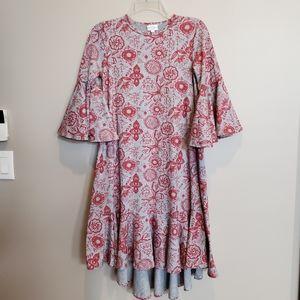 LuLaRoe XXS gray /red floral print ruffled dress